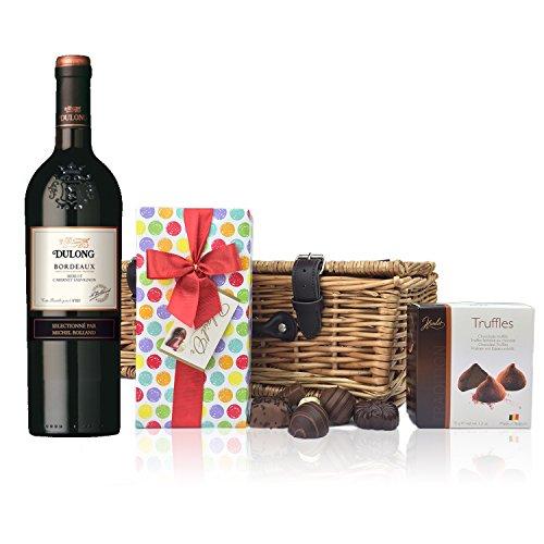 Bordeaux –Dulongréserve und Schokolade Geschenkkorb