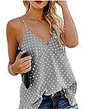 Camisetas sin Mangas de Verano para Mujer Camisas Mujer Fiesta Cuello en V botón Tirantes Camiseta de Tirantes Mujer Camiseta Deportiva Camisa de Verano sin Mangas Camisola Tops Tamaño Grande M