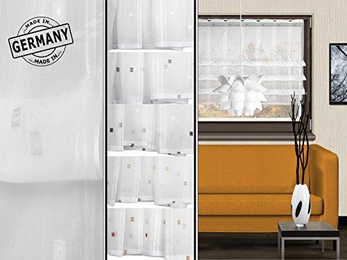 Clipraffstore Ilona von deko trends - halbtransparenter Dekostoff in elegantem Design - made in Germany - erhältlich in 5 harmonischen Farbkombinationen mit einer Stoffbreite von ca. 132 cm, weiß/braun/grau