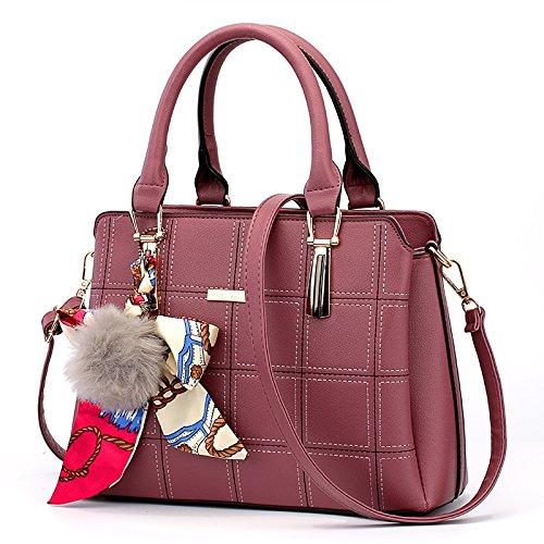 CengBao Ms. pacchetti coreano in autunno e inverno nuova donna pacchetto è semplice ed elegante borsa tracolla di tendenza un cross-killer pacchetto, m bianco Griglia viola in gomma