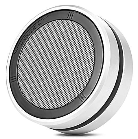 H&M Haut-parleur Bluetooth portable avec un son stéréo impressionnant Technologie de contrôle de volume rotatif Prise en charge Appels mains libres AUX, caisson de graves en métal Outdoor Mini 4.1 Bluetoo , Silver