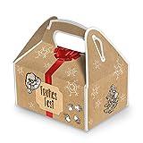 5 kleine Weihnachtsschachtel Geschenk-box Geschenk-Karton Weihnachten rot natur FROHES FEST 9 x 12 x 6 cm Verpackung weihnachtlich für Kunden Mitarbeiter schwarz beige braun natürlich