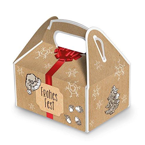 10 kleine Weihnachtsschachtel Geschenk-box Geschenk-Karton Weihnachten rot natur FROHES FEST 9 x 12 x 6 cm Verpackung weihnachtlich für Kunden Mitarbeiter schwarz beige braun