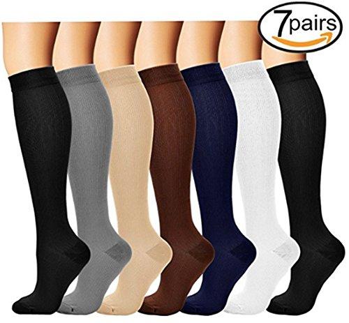 7 Paar Knie Hohe Abgestufte Kompression Socken für Damen und Herren (6 Colors, S/M)