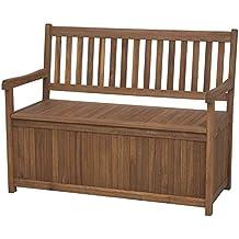 Siena Garden 800520 Melton - Banco (madera de acacia y acero galvanizado, 2 plazas, con cajón de almacenaje)