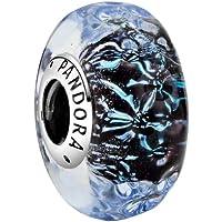 Breloque en verre de Murano bleu foncé avec motif vague