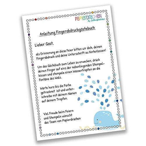 Fingerabdruck Gästebuch für Jungen DIN A4 Walfisch blau blau - personalisiert für deine Taufe mit Stempelkissen - 3