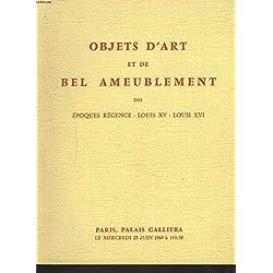 OBJETS D'ART ET DE BEL AMEUBLEMENT. PRINCIPALEMENT DES EPOQUES REGENCE, LOUIS XV, LOUIS XVI. PORCELAINES ANCIENNES, CHENETS, PENDULES, SIEGES ET MEUBLES. TAPISSERIES ANCIENNES. VENTE LE 8 DECEMBRE 1969.