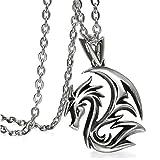 Cupimatch Drachen Halskette Herren Gothic Drache Kette Anhänger Edelstahl 55cm für Jungen Männer, Silber