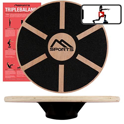 MSPORTS Balance Board aus Holz 39 cm Durchmesser inkl. Balance Übungsposter + Workout App GRATIS Therapiekreisel Physiotherapie Wackelbrett