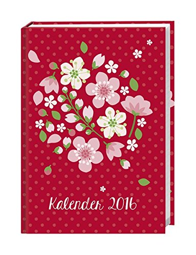 Floral 17-Monats-Kalenderbuch A5 2016: 17 Monate. Von August 2015 bis Dezember 2016.