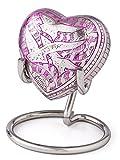 Herzform-Urne–Miniatur-Urne, Vogel-Motiv, Design in Pink
