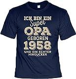 Tini - Shirts T-Shirt 60 Geburtstag Opa - Geburtstagsshirt Sprüche Jahrgang 1958 : Ich Bin ein Super Opa Geboren 1958 - Geschenk-Shirt Zum 60.Geburtstag Mann/Großvater Gr: L