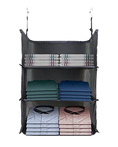 Lonior organiser da guardaroba pieghevole organizzatore armadio in tessuto 600d robusto tessuto di oxford-3scomparti- fit per guardaroba, bagagli, guardaroba