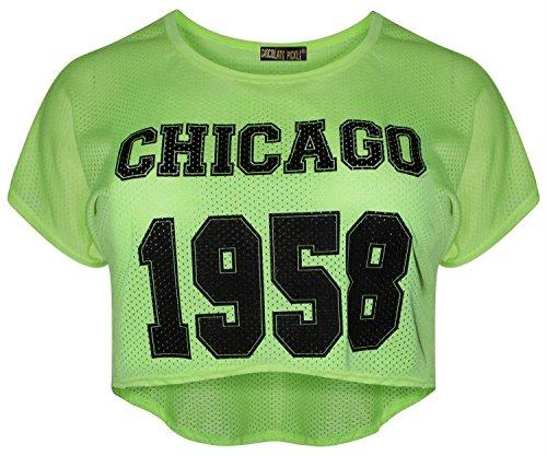 Neuer Frauen fluoreszierend Hoch Niedrig Air Tech Chicago 1958 Anzahl drucken Vest Top 36-42 Neon Yellow