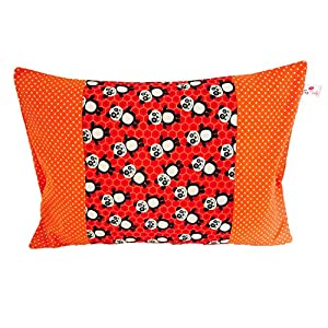 "TryPinky® Handmade Kissenbezug 30 X 40 cm"" Pandabären Orange Punkte"" Kinderkissen Babykissen Taufe Kissenhülle 100% Baumwolle BW Dots Panda"