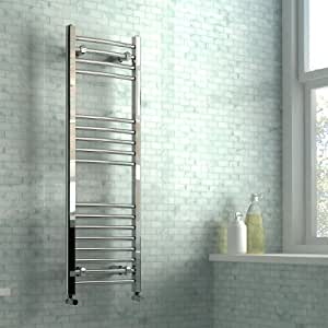 400 x 1200 mm Heated Towel Rail Curved Chrome 1686 BTU's Bathroom Warmer Radiator Rack Central Heating