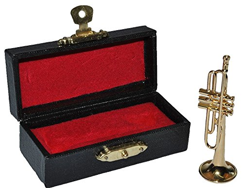 Unbekannt Miniatur Trompete - Metall Maßstab 1:12 - Puppenhaus Blechblasinstrument golden - Musikinstrument Musik Instrument Orchester Kammermusik