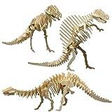 matches21 3D Dinosaurier Holz Bausätze 3er Set Bronto- Tyranno- Ouranosaurus Holzbausätze Steckbausätze - Kinder ab 8 Jahren