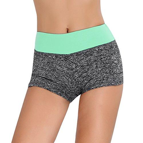 iEFiEL Damen Shorts Sport Laufhose Gym Yoga Shorts kurze Hose Laufshorts Fitness Sporthose Trainingshose Grau&Blau L (Sport Bekleidung Shorts Frauen)