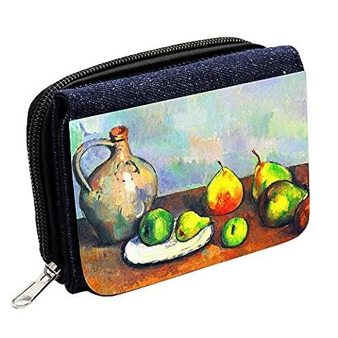 Cezanne Still Life Jar And Fruit, Blue Denim Wallet Custom