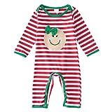 ZAMAC Baby Strampler Weihnachten Streifen Lächeln Gesicht Muster Baumwolle Neugeborenen Winter Overall in Einem Schnee Anzug Outfits Bodysuit