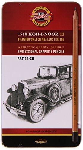 Koh-I-Noor - Juego de lápices (grafito, durezas 8B, 7B, 6B, 5B, 4B, 3B, 2B, B, HB, F, H y 2H)