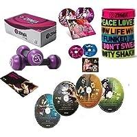 Preisvergleich für Maxi XXL Zumba Set 4er DVD Armbänder,Toning 2.5 LB ,4 CDs,EB