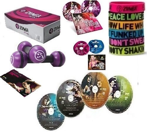 Maxi XXL Zumba Set 4er DVD Armbänder,Toning 2.5 LB ,4 CDs,EB