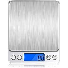 VersionTech Báscula Digital para Cocina Escala para Alimentos de 6,6 lbs/ 3 kg con Plataforma de Acero Inoxidable y Gran Pantalla LCD Balanza Multifuncional para Cocina de Color Plata Elegante