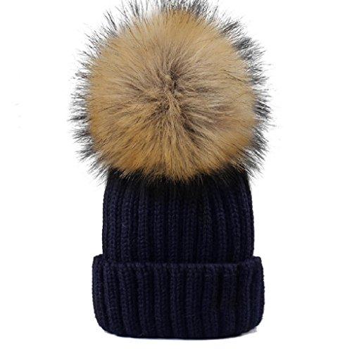 YANIBEST Frauen Mädchen Winter Pelz Hut Faux Fourrue Bommel Mütze Winter Hüte Frauen Faux-pelz-hut
