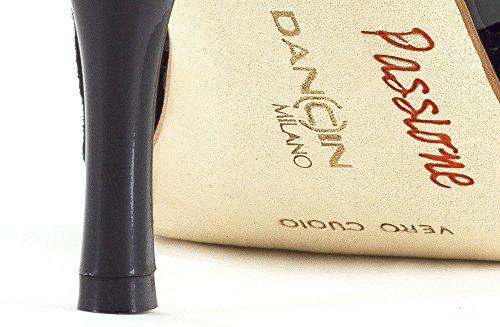 Dancin Scarpe da Ballo con Inserti in Pelle Metallic Platinum Nera TC 8,5 cm Nero