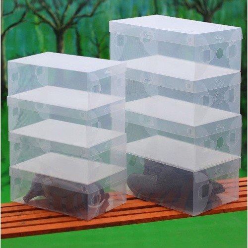 Hoobor House 10X trasparente in plastica trasparente scatola di scarpe impilabile organizzatori collassabile Volume Box