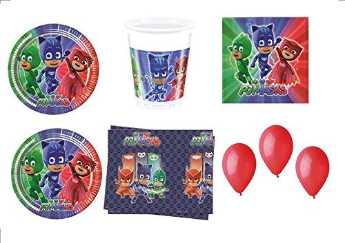 PJ Masks Super pigiamini coordonné décorations fête - Kit N ° 32 CDC- (32, 32 verres, 40 assiettes 40 serviettes, 1 nappe, 100 ballons rouges)