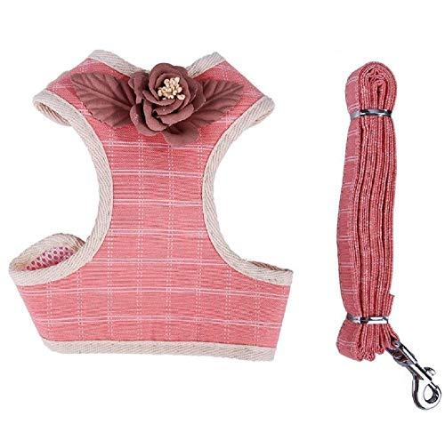 GDDYQ Hundeweste Geschirr, verstellbares Brustgurt mit Hundegeschirr und Zugseil für kleine Katzen,Pink,L