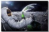 Smart 1x Poster Astronaut auf Dem Mond Erde Planet A Herren Drink Beer USA Flagge Office Home Raum Wand Deco 35.5x23.5 inch (90x60cm) E622(001)