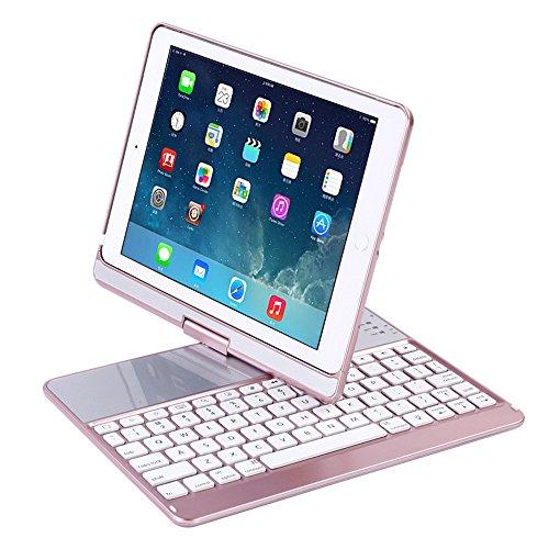 Kabellose Bluetooth Tastatur Schutzhülle für 24,6cm iPad Smart Ultra Slim 360Grad drehbar Schutzhülle Hülle mit Auto Sleep Wake Funktion 120Stunden Arbeit Zeit Sieben Arten von Beleuchtung mit Broadcom Chip kompatibel der iPad 5/6/pro9.7/New iPad