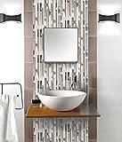Mosaik Fliesen 30 x 30 cm Glasfliese Klavier braune Folie grau Metall Küche Badezimmer Wand 8mm 054 (1 Blatt)