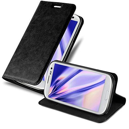 Cadorabo Custodia Libro per Samsung Galaxy S3 / S3 Neo in Nero di Notte - con Vani di Carte, Funzione Stand e Chiusura Magnetica - Portafoglio Cover Case Wallet Book Etui Protezione