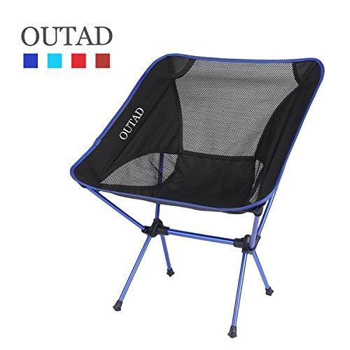 OUTAD Klappstuhl bequemer Strandstuhl Freizeitstuhl Camping Stuhl Outdoor Faltstuhl für Angeln, Picknick und Camping im Freien robustes 600D Oxford Gewebe Maximale Lager 150kg (Dunkelblau) (Gewebe Leichtes)