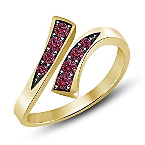 Vorra Fashion kaufen 14K vergoldet 925Silber RD Schnitt Tinte Saphir Paar Bypass Zehenring Stil verstellbar