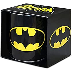DC Comics Superheld GC Batman - Taza de Desayuno (Porcelana, tamaño XXL), diseño con Logotipo de Batman, Color Negro