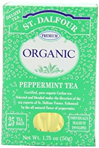 ST. DALFOUR Organic Tea, Tea Bags, Peppermint, 25-Count 1.75-Ounce Bags (Pack of 6)