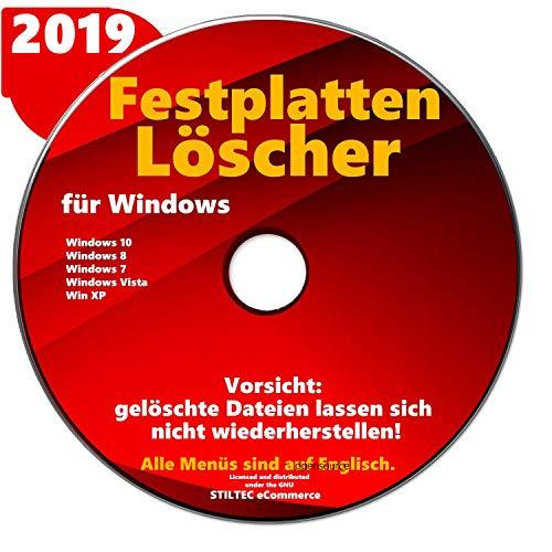 Festplatten Löscher & Formatierer Datenvernichter Sichere Datenlöschung CD DVD für Windows 10 & 7 & 8 + Vista + XP - Löschen Festplatte