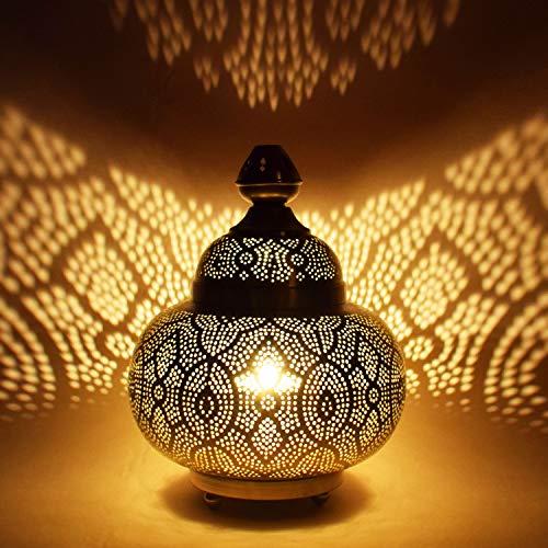 Orientalische kleine Tischlampe Lampe Kayla 30cm Silber | Marokkanische Tischlampen klein aus Metall, Lampenschirm silberfarben | Nachttischlampe modern, für Vintage, Retro & Landhaus Stil Design