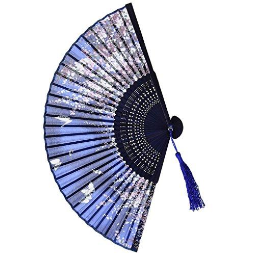 QinMM Muster faltende Tanzhochzeits-Partei-Spitze-Silk faltender Handblumen-Fan-chinesische Art Party Tasche Geschenke (Mehrfarbig)