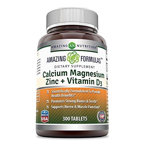 Amazing Formulas Calcium Magnesium Zinc + Vitamin D3 300 Tablets, Promotes Strong Bones & Teeth