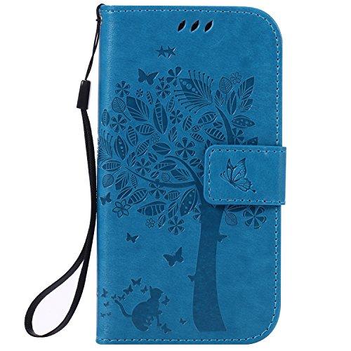 Mokyo Samsung Galaxy S4 Hülle [mit Frei Stylus Stift],Folio PU Leder Brieftasche Klapphülle mit [Standfunktion][Magnetverschluss][Kartenfächer] Handyhülle Geprägt Katze und Baum Premium Muster Weich Buchstil Dünn Schale Tasche für Samsung Galaxy S4 - Blau (Geprägte Grafiken)