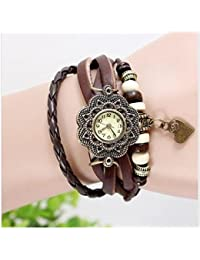 ITHANO - Leather Bracelet Analogue Brown Off-White Dial Women's Watch With Small Heart Pendant-HTBR001