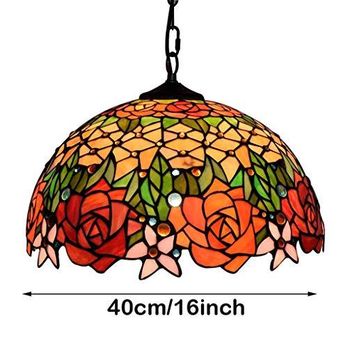 Tiffany Bronze-finish (C-LT Deckenleuchte Stil Kronleuchter Lampe Lampe Bunte Glas Deckenleuchte Leuchte 16-Zoll-Shade Bronze Finish Kronleuchter)